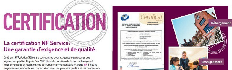 Action S�jours certifi� NF service