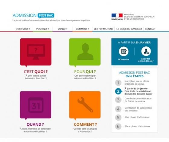 Capture d'écran du portail admission post bac APB
