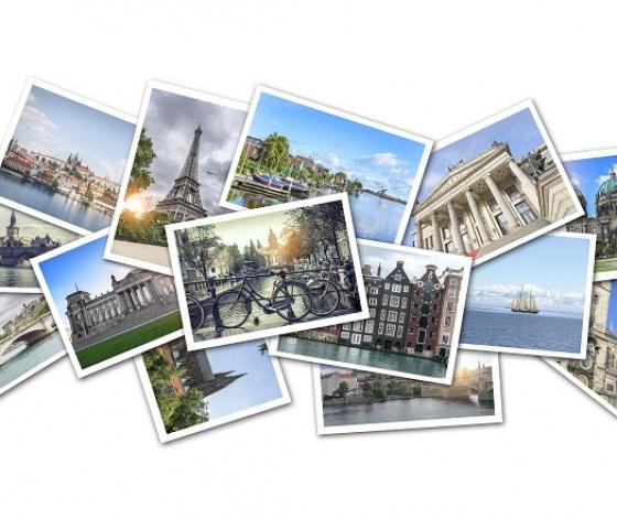Collage de photos souvenirs de voyages dans de grandes villes européennes