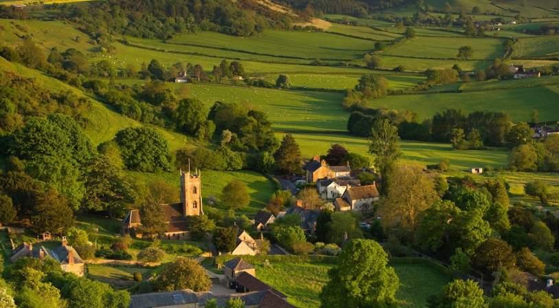 vue aérienne campagne anglaise
