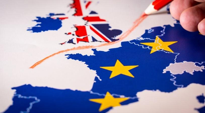 Carte de l'Europe représentant le Brexit