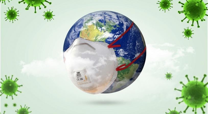 La planète Terre porte un masque de protection face à l'épidémie de Covid19 ou Coronavirus
