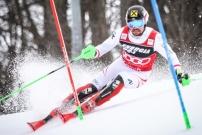 Marcel Hirscher pendant la coupe du monde de ski slalom en 2018